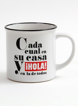 """75TH-ANNIVERSARY COLLECTION CUP  Cada cual en su casa y ¡HOLA! en la de todos - """"Each one in their home and ¡HOLA! in everyone's home"""""""